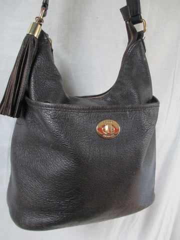 TOMMY HILFIGER Leather Purse Handbag Hobo Bucket Bag BROWN FRINGE M Tassel