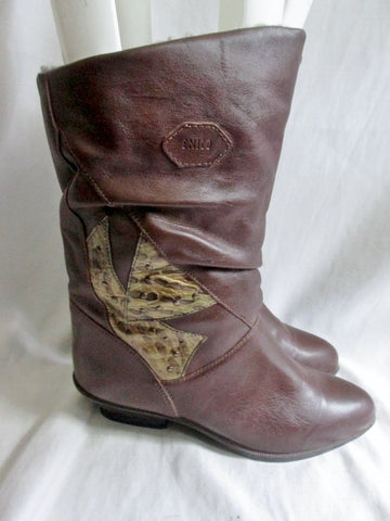 Womens ENICO Italy Vegan Western Cowboy Buckaroo Rocker BOOTS BROWN 7 Slouch
