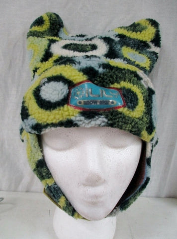 Girls Boys Toddler OILILY SNOW STAR Knit KIDS Ear Flap HAT GREEN 53 S 4-6