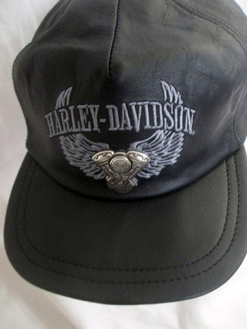 Authentic HARLEY DAVIDSON MOTORCYCLES LEATHER Biker RIDING Cap Hat BLACK OS