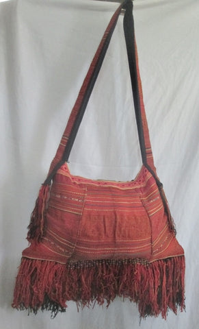 Funky Festival Fringe Blanket Ethnic Tapestry Bag RED Beaded Multi RED Hippie