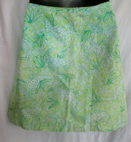 Womens LILLY PULITZER Cotton Mini SKIRT ALLIGATOR CROC GREEN 4 Shell Preppie