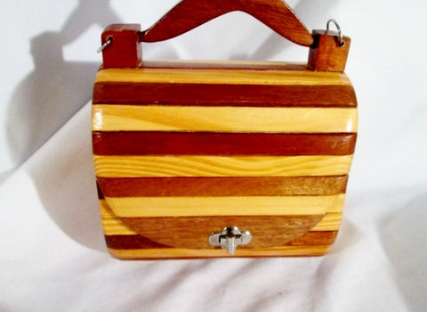 Vintage Handmade WOOD ROLLTOP Clutch Bag Purse BROWN Striped FASHION ART Couture