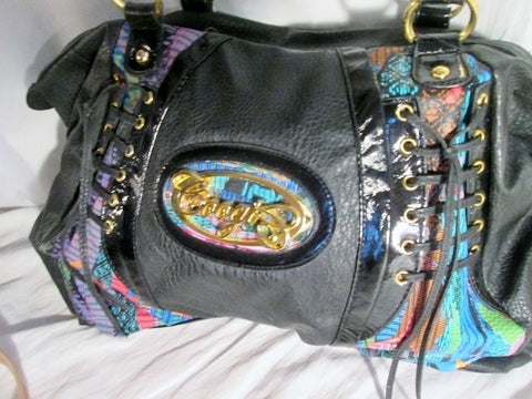 NEW COOGI Duffle Satchel Gym Bag Hip Hop Urban Lace Up Thrasher BLACK Vegan