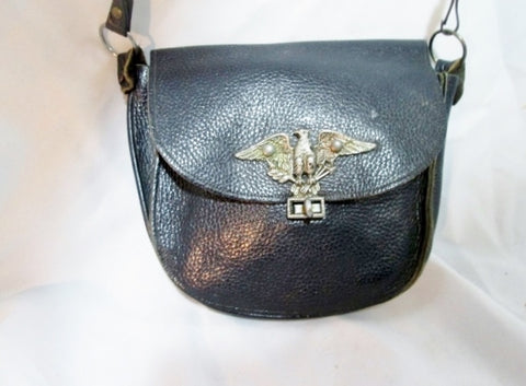 Vintage US ARMY EAGLE MILITARY Leather Flap Shoulder Bag BLACK Man Purse