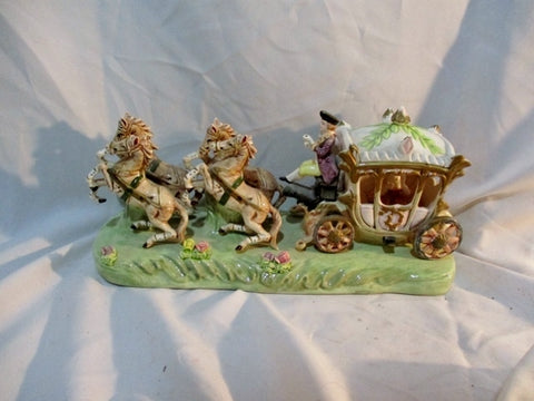 Vintage EMPRESS HARUTA HORSE CARRIAGE BUGGY Figurine Porcelain Art Statue Ceramic