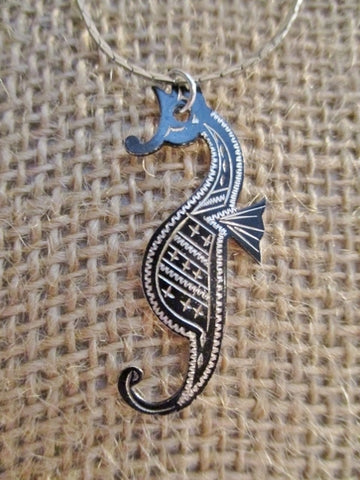 "16"" AMITA STERLING SILVER SEAHORSE Mermaid DAMASCENE Necklace Choker Nautical Ocean"