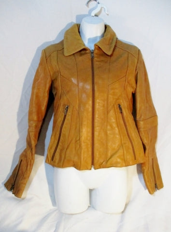 ENVY KNOLES & CARTER ITALY Jacket Patchwork Coat S Leather Moto BROWN Womens