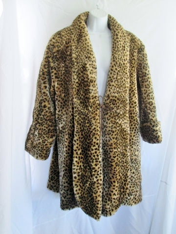 Womens MARVIN RICHARDS Vegan Faux FUR jacket coat M LEOPARD JAGUAR PANTHER