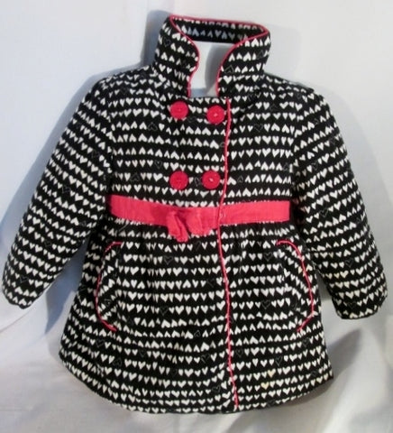 Girls Junior Youth PENELOPE MACK Dress JACKET Coat PARKA 5 BLACK WHITE HEART