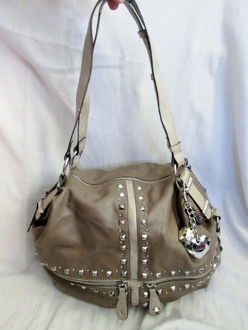 KATHY VAN ZEELAND Vegan Tote Bag Satchel Shoulder Bag Beige Gold Stud Heart Jewel