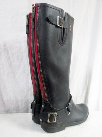 Womens STEVE MADDEN TSUNAMI Zipper Steampunk Rain Boots Wellies BLACK 10