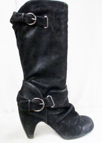 COCONUT WILLA Slouch Faux LEATHER Moto BOOT Shoe Buckle BLACK 9 High Heel