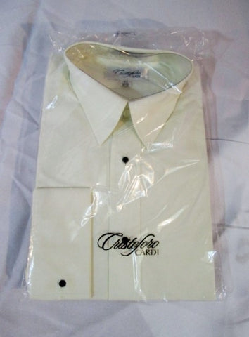 NEW Mens CRISTOFORO CARDI Tuxedo Shirt CREME 15.5 - 32/33 Dress Formal ECRU