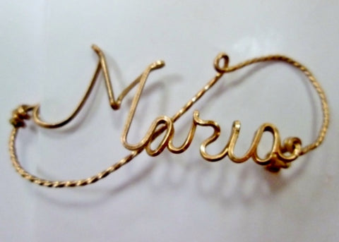 Vintage Handmade Monogram MARIA Name WIRE PIN GOLD Cursive Statement Brooch