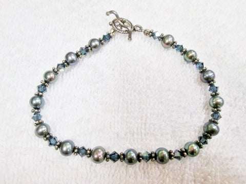"8"" Handmade CZECH Glass GRAY PEARL Beaded Bracelet Bangle Arm Band Iridescent Silver"
