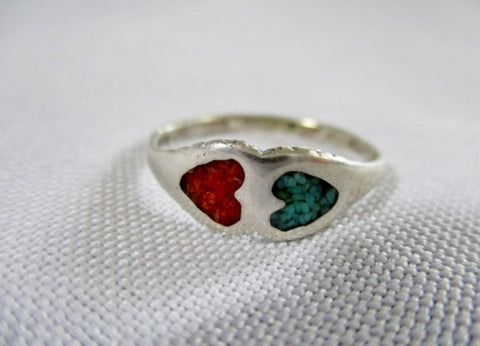 925 STERLING Silver Ring Sz 7.5 TURQUOISE BLUE TWIN HEART RED Love Jewelry