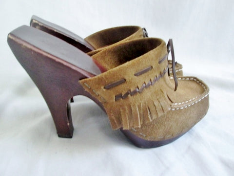 Womens FRYE 73800 LACEY Leather Clog High Heel Slip-On Mules Fringe 7 BROWN Shoe
