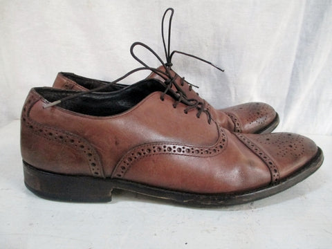 Mens BANANA REPUBLIC Lace Up Leather Dress Casual Wingtip OXFORD Shoes 10 BROWN