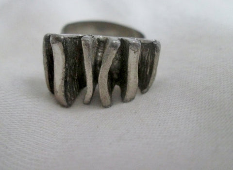 Chunky Mid Century Modern Retro Silver Statement Ring Adjustable jewelry Finger Art