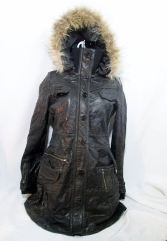Womens MISS TOPGUN TOP GUN LEATHER Fur Hood Coat Jacket Parka BLACK M Goth