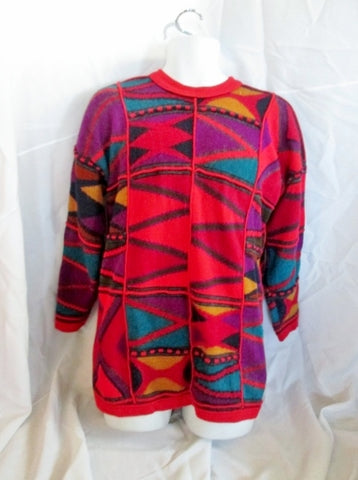 Womens Vintage Paititi Woolens Co. Color Block Sweater Knit 100% ALPACA Sweater L