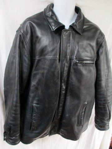 MENS WILSON'S PEBBLED LEATHER flight trench Moto Riding jacket coat BLACK L