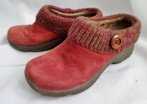 Youth Womens DANSKO Suede Knit Leather Clog Shoe Slip-On Mule RED 5.5 36 Kids