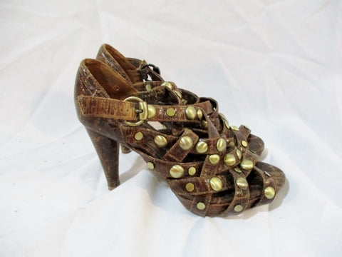 Womens JEFFREY CAMPBELL SISTAH Leather High Heel Shoe 9 BROWN STUD IBIZA