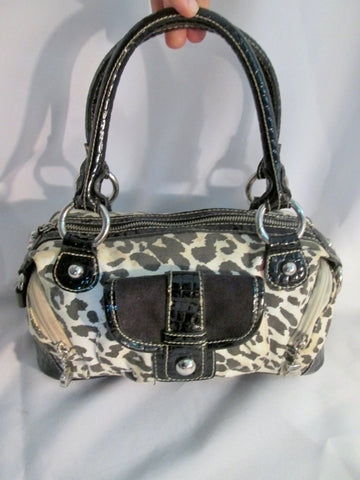 KATHY VAN ZEELAND Vegan Tote Bag Satchel Shoulder Purse LEOPARD BLACK WHITE