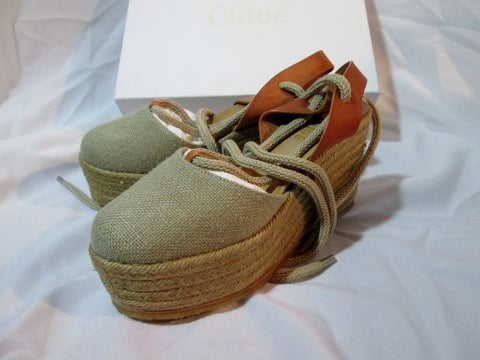 NEW CHLOE PLATFORM WEDGE ESPADRILLE Shoe Sandal 36 / 6 NATURAL ESPERDRILLES