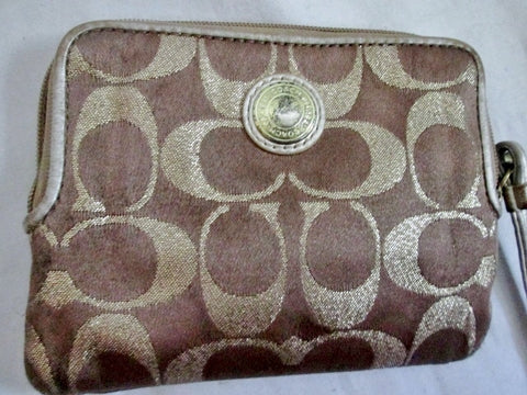 COACH Mini Signature C Canvas Leather Change Purse Wallet Wristlet GOLD Organizer
