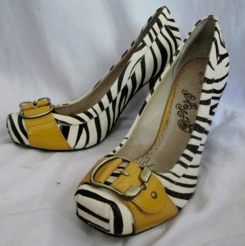 Womens NAUGHTY MONKEY High Heel Shoes PUMPS 9 ZEBRA FUR BLACK WHITE YELLOW Leather