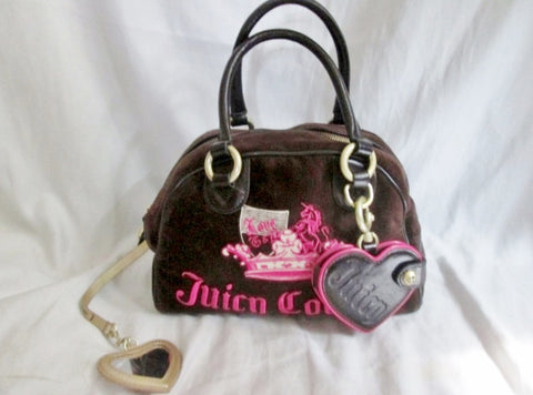 JUICY COUTURE Leather Velvet purse satchel bowler medical bag BROWN PINK M