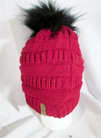 NEW FURTALK Mens Womens fur hat cap beanie boho hipster RED BLACK Pom Pom NWT