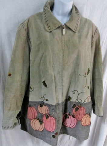 Womens QUACKER FACTORY Embroidered Suede Pumpkin JACKET COAT 1X GREEN FLORAL