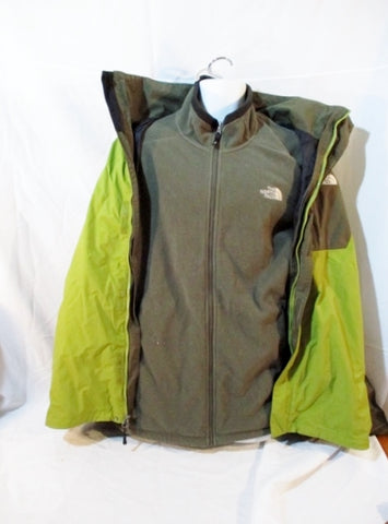 MENS THE NORTH FACE 2 in 1 Fleece Jacket Coat Winter Ski Parka XXL GREEN Set