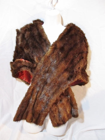 Vintage Genuine FUR LABEL AUTHORITY SCARF Shawl Wrap Stole Shrug BROWN