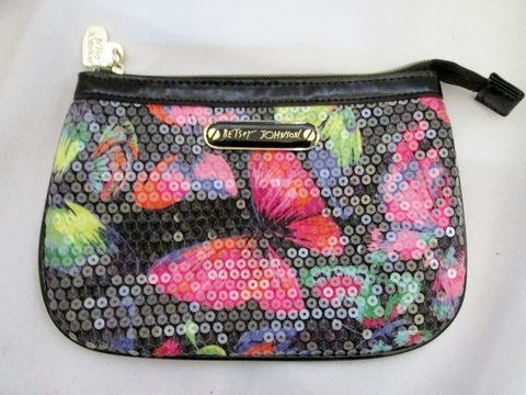 BETSEY JOHNSON BUTTERFLY Clutch Sequin Purse Case Pouch Wallet BLACK Bug