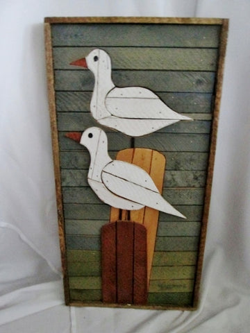Genuine THEODORE DEGROOT LATH Wood Sign SEAGULL Nautical ART DUTCH Brutalist