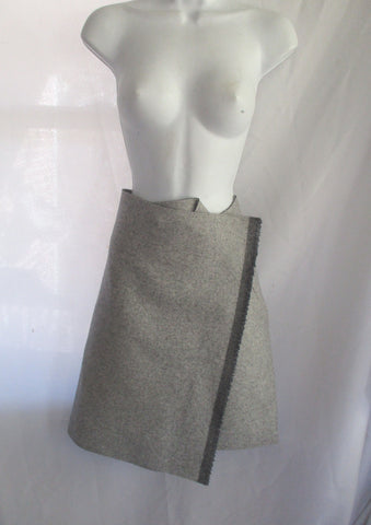NWT New CELINE FRANCE WOOL Blend Wrap SKIRT KILT 38 GRAY