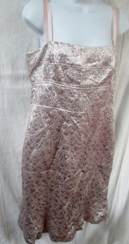 WOMENS LELA ROSE Mini Dress Sleeveless Silk 10 SILVER PINK  Formal Prom