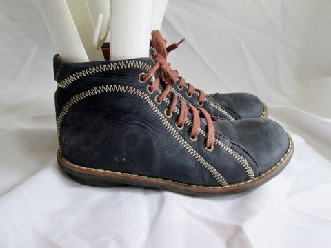 Womens NANDO Leather Hi-Top Sneaker Bootie  Shoe 37 6.5 NAVY BLUE BROWN