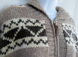 Womens CALVIN KLEIN NORDIC Fair Isles Wool Knit Sweater Cardigan Ethnic L BROWN WHITE