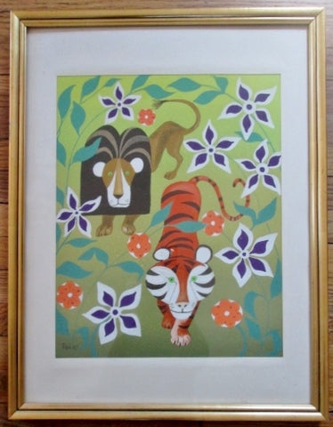 SIGNED PEDRO Original PAINTING LION TIGER WILD JUNGLE Childrens ART Frame