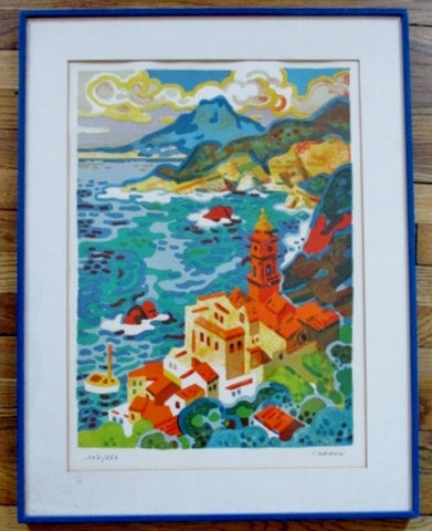 SIGNED ORIGINAL Ltd Ed GUY CHARON LITHOGRAPH VILLAGE SEA Picture ART Print