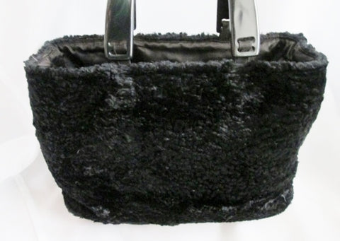 GRACE CHUANG Faux PERSIAN LAMB FUR CURLY Boutique handbag purse clutch BLACK