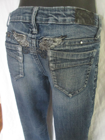 Womens Ladies ROBIN'S JEAN CHRETIEN JEANS ANGEL WINGS PANTS 26 BLUE Denim