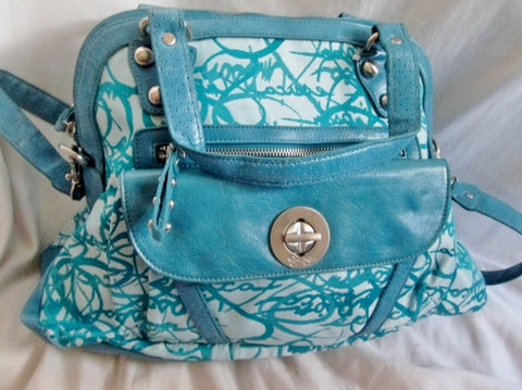 NEW JESSICA SIMPSON scribble vegan shoulder bag clutch satchel tote hobo BLUE L