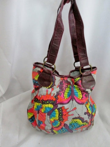 BUTTERFLY BUG INSECT shoulder bag hobo purse satchel tote Vegan GRAY PURPLE boho